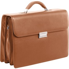 "bugatti Carrying Case (Briefcase) for 16"" Notebook - Cognac - Top Grain Leather - Shoulder Strap, Handle - 12"" (304.80 mm) Height x 16.50"" (419.10 mm) Width x 4.75"" (120.65 mm) Depth - 1 Pack"