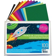 """Geocan Construction Paper Envelope, 100 Sheets - Construction - 9"""" (228.60 mm) x 12"""" (304.80 mm) - 100 / Pack - Assorted"""