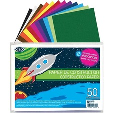 "Geocan Construction Paper Envelope, 50 Sheets - Construction - 9"" (228.60 mm) x 12"" (304.80 mm) - 50 / Pack - Assorted"