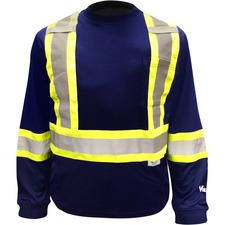Viking Safety Cotton Lined Long Sleeve Shirt - Recommended for: Outdoor, Warehouse - Breathable, Comfortable, High Visibility, Reflective, Non-irritating, Pocket, Hook & Loop - X-Large Size - Ultraviolet Protection - Strap Closure - Polyester, Cotton - Blue - 1 Each