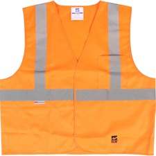 Viking Open Road Solid Safety Vest - Recommended for: Flagger, Construction, School - Machine Washable, Multiple Pocket, Hook & Loop Closure, Reflective - Small/Medium Size - Polyester - Orange, Lime - 1 Each
