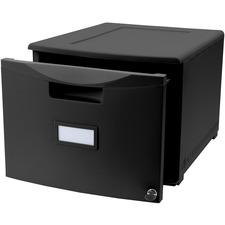 "Storex Storage Case - Media Size Supported: Letter 8.50"" (215.90 mm) x 11"" (279.40 mm), Legal 8.50"" (215.90 mm) x 14"" (355.60 mm) - Stackable - Black - For Folder, File - 1 Each"