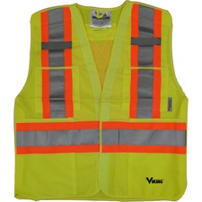 Viking 5pt. Tear Away Safety Vest - Recommended for: Building, Construction, School, Emergency, Warehouse, Law Enforcement, Industrial - Hook & Loop, Reflective, Multiple Pocket, Two-strap Design, D-ring, Breathable, High Visibility - Large/Extra Large Size - Strap Closure - Polyester - Lime, Green - 1 Each