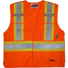 Viking 5pt. Tear Away Safety Vest - Recommended for: Outdoor, Building, Construction, School, Emergency, Warehouse, Law Enforcement, Industrial - D-ring, Multiple Pocket, Hook & Loop, Reflective, High Visibility, Breathable, Two-strap Design - Small/Mediu