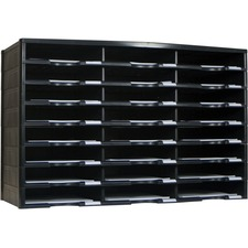 "Storex 24 Compartment Literature Sorter, Black - 24 Compartment(s) - 9.50"" (241.30 mm) x 12"" (304.80 mm) - 20.5"" Height x 14.1"" Width x 31.4"" Depth - Black - Polystyrene, Plastic, Cardboard - 1 Each"