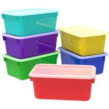"Storex Storage Bin - 5.3"" Height x 12.3"" Width x 7.8"" Depth - Assorted - Plastic - 1 Each"