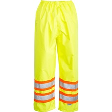 Viking Trilobal Ripstop Waterproof Pants - Recommended for: Flagger, Construction - Water Proof, Adjustable Cuff, Attached Boot, Comfortable, Ventilation, Wind Proof, Heat-sealed, Lightweight, Flexible, Pass-thru Pocket, Elasticized, ... - Large Size - Polyester PU - Lime Green - 1 Each
