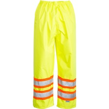 Viking Trilobal Ripstop Waterproof Pants - Recommended for: Flagger, Construction - Durable, Water Proof, Wind Proof, Comfortable, Ventilation, Heat-sealed, Taped Seam, Flexible, Lightweight, Pass-thru Pocket, Adjustable Cuff, ... - Medium Size - Strap Closure - Polyester PU - Lime Green - 1 Each