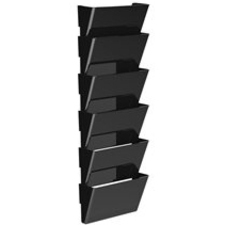 """Storex Snap and Stack Wall Pockets Files, Letter - 7"""" Height x 4"""" Width x 13"""" Depth - Black - Poly - Set of 6 Files"""