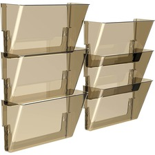 """Storex Snap and Stack Wall Pockets Files, Letter - 7"""" Height x 4"""" Width x 13"""" Depth - Smoke - Poly - Set of 6 Files"""