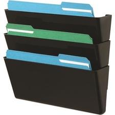Deflecto EZ Link Stackable DocuPocket - 3 Pocket(s) - Black - Polystyrene - 3 / Pack