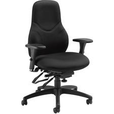 Global Tritek Ergo Select High Back Multi-Tilter, Standard Seat - Black Seat - Black Foam Back - Black Frame - High Back - 5-star Base - Armrest - 1 Each