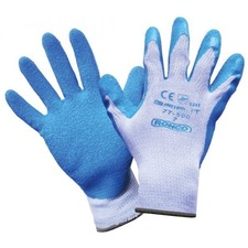 RONCO Grip-It Work Gloves - Snag, Abrasion, Blade Cut Protection - Crinkle Latex Coating - XXL Size - Poly Cotton - Gray, Blue - Abrasion Resistant, Snag Resistant, Cut Resistant, Firm Wet Grip, Flexible, Lightweight, Breathable, Snug Fit, Knitted Cuff, Comfortable - For General Purpose, Agriculture, Fishing, Aquaculture, Municipal Service, Shipping, Construction, Landscaping, Material Handling, Waste Management, Warehouse, ... - 12 / Box