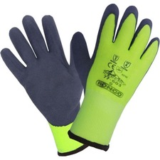 Iceberg Work Gloves - Latex Coating - Medium Size - Acrylic Interior - Hi-Viz Green - High Visibility, Flexible, Lightweight, Abrasion Resistant, Puncture Resistant - For Cold Storage, Distribution, Environmental Service, Aquaculture, Fishing, Frozen Food Handling, Extreme Climate Work, Freight/Transportation - 6 / Pack