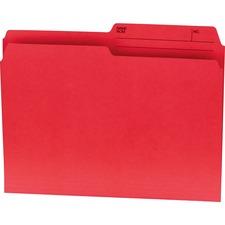 """Offix 1/2 Tab Cut Letter Top Tab File Folder - 8 1/2"""" x 11"""" - Red - 100 / Box"""