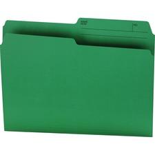 """Offix 1/2 Tab Cut Letter Top Tab File Folder - 8 1/2"""" x 11"""" - Green - 100 / Box"""