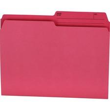 """Offix 1/2 Tab Cut Letter Top Tab File Folder - 8 1/2"""" x 11"""" - Pink - 100 / Box"""