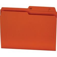 """Offix 1/2 Tab Cut Letter Top Tab File Folder - 8 1/2"""" x 11"""" - Orange - 100 / Box"""