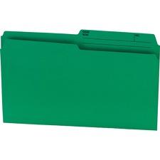 """Offix 1/2 Tab Cut Legal Top Tab File Folder - 8 1/2"""" x 14"""" - Green - 100 / Box"""