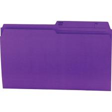 """Offix 1/2 Tab Cut Legal Top Tab File Folder - 8 1/2"""" x 14"""" - Purple - 100 / Box"""