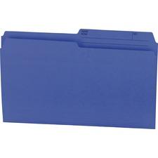 """Offix 1/2 Tab Cut Legal Top Tab File Folder - 8 1/2"""" x 14"""" - Navy - 100 / Box"""