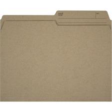 """Offix 1/2 Tab Cut Letter Top Tab File Folder - 8 1/2"""" x 11"""" - Kraft - 100 / Box"""