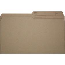 """Offix 1/2 Tab Cut Legal Top Tab File Folder - 8 1/2"""" x 14"""" - Kraft - 100 / Box"""