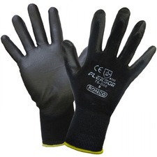 FLEXSOR Work Gloves - Polyurethane Coating - Medium Size - Nylon - Black - Breathable, Latex-free, Soft, Comfortable, Flexible, Firm Wet Grip - For Assembling, Packing, Inspection, Carpentry, Transportation, Warehouse, Automotive, Fishing, Aquaculture, Shipping, Finished Goods, ... - 12 / Pack
