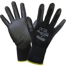 FLEXSOR Work Gloves - Polyurethane Coating - Large Size - Nylon - Black - Breathable, Latex-free, High Tactile Sensitivity, Abrasion Resistant, Knit Wrist - For Assembling, Packing, Inspection, Carpentry, Transportation, Warehouse, Automotive, Fishing, Aquaculture, Shipping, Stocking, ... - 12 / Pack