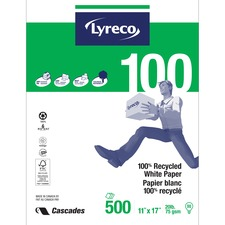 """Offix Laser Recycled Paper - White - Tabloid - 11"""" x 17"""" - 20 lb Basis Weight - Smooth - 500 / Pack"""