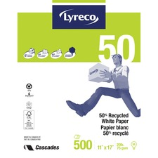 "Offix Recycled Paper - 94 Brightness - Tabloid - 11"" x 17"" - 20 lb Basis Weight - 500 / Pack"