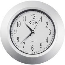 Geocan Wall Clock - Analog - Quartz - Chrome Finish