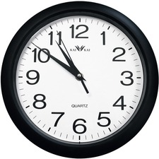 Geocan Wall Clock - Analog - Quartz - Black