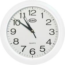 Geocan Wall Clock - Analog - Quartz - White