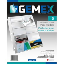 "Gemex Business Card Pocket - 0"" Thickness - 20 x Card Capacity - For Letter 8 1/2"" x 11"" Sheet - 3 x Holes - Clear - Polypropylene - 50 / Box"