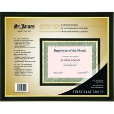 """St. James® Awards & Certificate Frame, 11? x 9¼"""" (30 x 24cm), Tuscan Black with Gold Trim - 12.20"""" x 9.45"""" Frame Size - Holds 11.02"""" x 8.66"""" Insert - Wall Mountable - Portrait, Landscape - 1 Each - Plastic - Tuscan Black, Gold"""