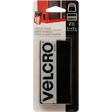 "VELCRO® Industrial Adhesive Strips - 2"" (50.8 mm) Length x 4"" (101.6 mm) Width - 1 / Pack - Black"