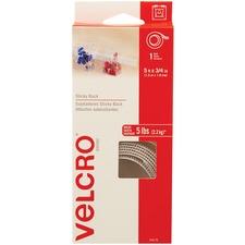 "VELCRO® Self-Adhesive Strips - 5 ft (1.5 m) Length x 0.75"" (19.1 mm) Width - 1 Each - White"