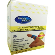 "Paramedic Heavy Fabric Blue Detectable Knuckle Bandage (50) - 1.50"" (38.10 mm) x 3"" (76.20 mm) - 50/Pack - Blue - Fabric"