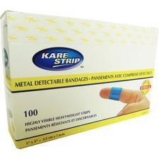 "Paramedic Heavy Fabric Blue Metal Detectable Adh Bandage 1 x 3 (100) - 1"" (25.40 mm) x 3"" (76.20 mm) - 100/Pack - Blue Metal - Fabric"