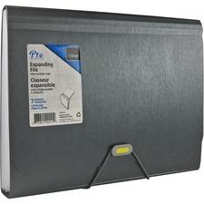 """OffiSmart Letter Expanding File - 8 1/2"""" x 11"""" - 7 Pocket(s) - Polypropylene - Charcoal - 1 Each"""