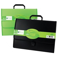 "EcoOffice Letter Recycled Expanding File - 8 1/2"" x 11"" - 26 Pocket(s) - Polypropylene - Clear, Assorted - 1 Each"