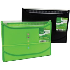 "EcoOffice Letter Recycled Expanding File - 8 1/2"" x 11"" - 13 Pocket(s) - Polypropylene - Clear, Assorted - 1 Each"
