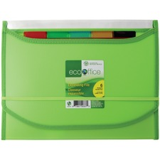 "EcoOffice Letter Recycled Expanding File - 8 1/2"" x 11"" - 6 Pocket(s) - Polypropylene - Clear, Assorted - 1 Each"