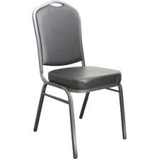 Horizon A-117V Stacking Chair - Black Vinyl Seat - Black Vinyl Back - Gray Vein Powder Coated Frame - Four-legged Base - 1 Each