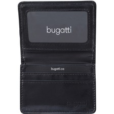 """bugatti Carrying Case (Wallet) Business Card - Black - Synthetic Leather - 2.75"""" (69.85 mm) Height x 4"""" (101.60 mm) Width x 1"""" (25.40 mm) Depth - 1 Pack"""