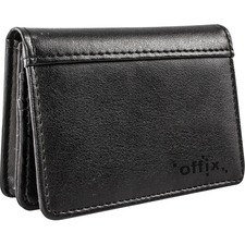 """Offix Carrying Case (Wallet) Business Card - Black - Synthetic Leather - 2.75"""" (69.85 mm) Height x 4"""" (101.60 mm) Width x 1"""" (25.40 mm) Depth - 1 Pack"""