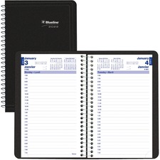 """Blueline Daily Planner 2021, Black - Daily - 7:00 AM to 7:30 PM - Weekly - 1 Day Single Page Layout - Spiral Bound - Black - Paper - 8"""" Height x 5"""" Width - Appointment Schedule, Soft Cover, Bilingual, Flexible Cover, Printed - 1 Each"""