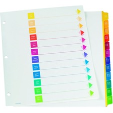 """Oxford Super Rapidex Colour Coded Tab Dividers - Jan-Dec, Letter-Size, Assorted, 12/ST - 12 x Divider(s) - Printed Right Tab(s) - 1/12 - Month - Jan-Dec, Table of Contents - 12 Tab(s)/Set - 9"""" Divider Width x 11"""" Divider Length - Letter - 3 Hole Punched - Assorted Plastic Tab(s) - 1 Each"""