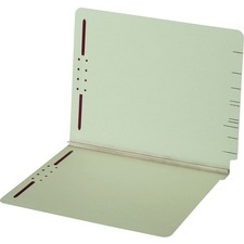 """Globe-Weis Straight Tab Cut Letter Recycled Fastener Folder - 8 1/2"""" x 11"""" - 2"""" Expansion - 2 Fastener(s) - End Tab Location - Pressboard, Stock - Light Green - 1 Each"""